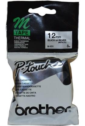 Brother M-931 Gümüş Üzerine Siyah P-Touch Etiket 12Mm Pt-55 / Pt-60 / Pt-80