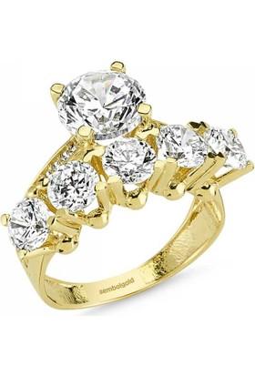 Sembolgold 14 Ayar Altın Tektaş & 5 Taş Yüzük Zirkon Taşlı Sg42-783447