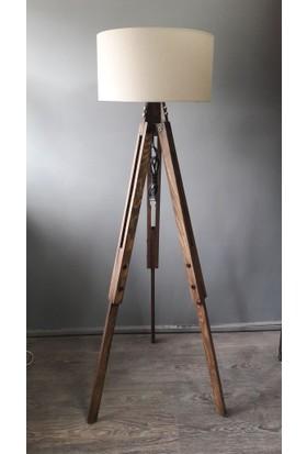 Homedit Loft Tasarım Tripod Lambader Köşe Lambası Abajur Bej Başlık / Ceviz Ayak