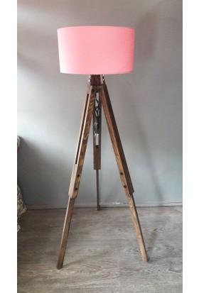 Homedit Loft Tasarım Tripod Lambader Köşe Lambası Abajur Pembe Başlık / Ceviz Ayak