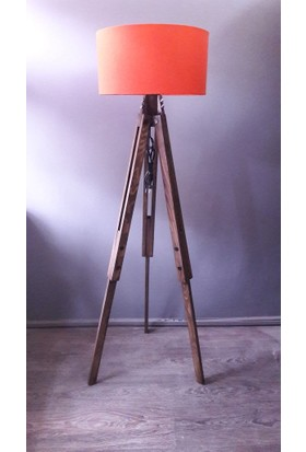 Homedit Loft Tasarım Tripod Lambader Köşe Lambası Abajur Turuncu Başlık / Ceviz Ayak