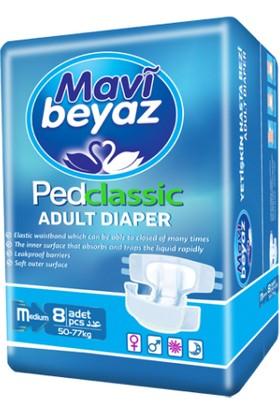 Mavi Beyaz Pedklasik Yetişkin Hasta Bezi M Beden 8'li Paket