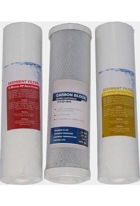 Milsuart Su Arıtma Cihazları İçin Aqualine 3'lü Filtre Seti