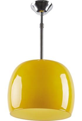 Trendhome Elma Sarı Büyük Boy Tekli Avize