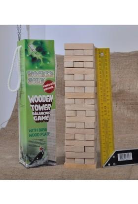 Wooden Gold 60 Parça Ahşap Kule Denge Oyunu (20 Katlıdır)