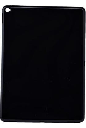 Serhan Apple iPad New 9.7 2017 Tablet Süper Siyah Silikon Kılıf+Kalem+Film