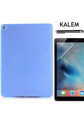Serhan Apple iPad Air Tablet Süper Mavi Silikon Kılıf+Kalem+9H Kırılmaz Cam