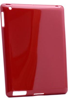 Serhan Apple iPad 2/3/4 Tablet Süper Kırmızı Silikon Kılıf+Kalem