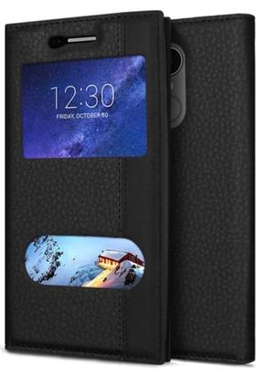 serhan Sony Xperia Z3 Magnum Kılıf Pencereli Siyah