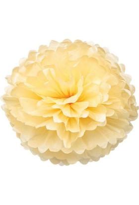 Wildlebend Kağıt Ponpon Çiçek Asma Süsü 25 Cm - Bej