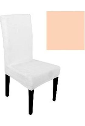 Sandalye Kılıfı - Dalgıç Kumaş - Likralı - Somon 6 Adet