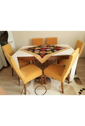 Sandalye Kılıfı - Dalgıç Kumaş - Likralı - Hardal 6 Adet