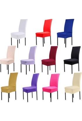 Sandalye Kılıfı - Dalgıç Kumaş - Likralı - Bej - Krem 6 Adet