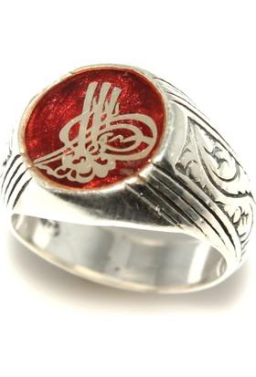 Nusret Takı Tuğra Modeli 925 ayar Gümüş Erkek Yüzük, Kırmızı Mineli