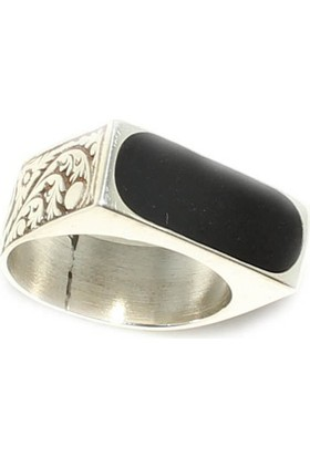Nusret Takı 925 Ayar Gümüş Polyester Taşlı Yüzük