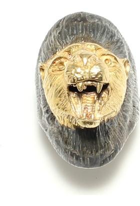 Nusret Takı 925 Ayar Gümüş Aslan Başı Modeli Erkek Yüzük