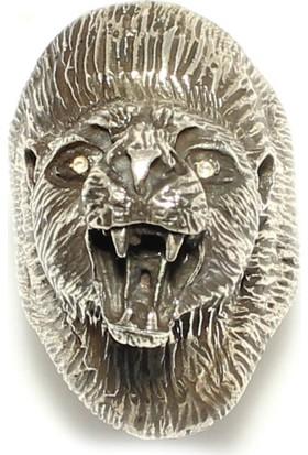 Nusret Takı Aslan Başı Modeli Gümüş Erkek Yüzük