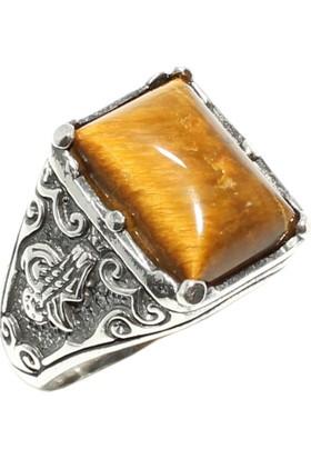 Nusret Takı 925 Ayar Gümüş Dikdörtgen Kaplangözü Taşlı Tuğra İşlemeli Erkek Yüzük