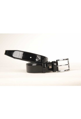 Süzer Suni Deri Rugan Siyah Düz 35 Cm.Lik Klasik Kemer - 8001-Düz