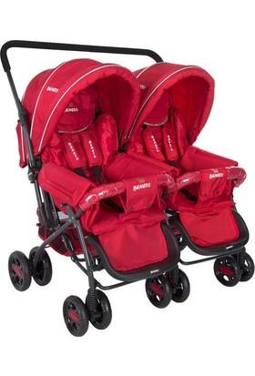 Beneto Bt-151 Turado Twin İkiz Bebek Arabası Kırmızı