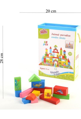 Can-Em Oyuncak Kutulu 68 Prç Renkli Ahşap Şekiller
