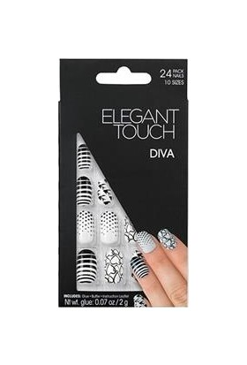 Elegant Touch Polıshed Naıls-Desenli Siyah Beyaz