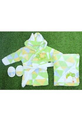 Yumurcak Bebek Bornoz Takımı Yeşil