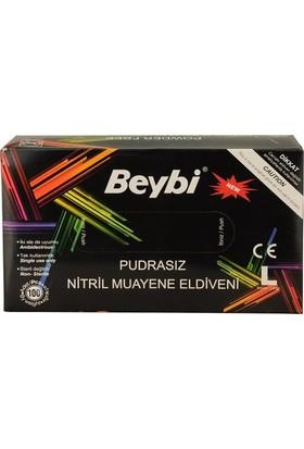 Beybi Nitril Muayene Eldiveni Pudrasız Siyah Large (L)