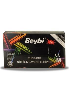 Beybi Nitril Muayene Eldiveni Pudrasız Siyah Medium (M)