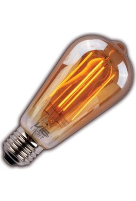 Vialicht 2W (20W) Led Filament ST64 E27 Ampul 170 lmn 1800K GOLD