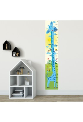 DekorLoft Yavru Zürafa Boy Ölçer Sticker DBC01 Mavi