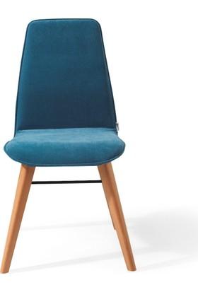 Vilinze Monaliza Sandalye, 2 Adet , Mavi Kumaş, Natürel Ahşap Ayak