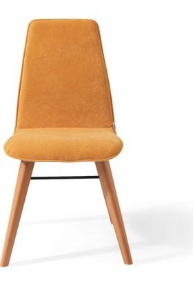 Vilinze Monaliza Sandalye, 2 Adet , Sarı Kumaş, Natürel Ahşap Ayak