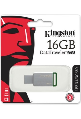 Kingston 16Gb Usb3.1 Memory Dt50/16Gb Metal/Yeşil