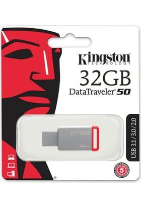 Kingston 32Gb Usb3.1 Memory Dt50/32Gb Metal/Kırmız