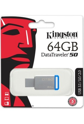 Kingston 64Gb Usb3.1 Memory Dt50/64Gb Metal/Mavi