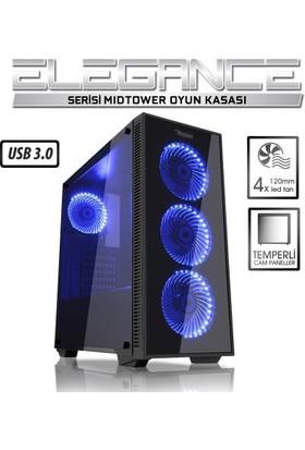 Power Boost Elegance Serisi VK-G1007B 4x12cm Mavi Led Fanlı, USB 3.0, Tempered Glass Oyuncu Kasa