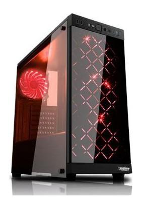Power Boost Elegance Serisi VK-G1006R 4x12cm Kırmızı Led Fanlı, 2xUSB 3.0, Tempered Glass Gaming Kasa