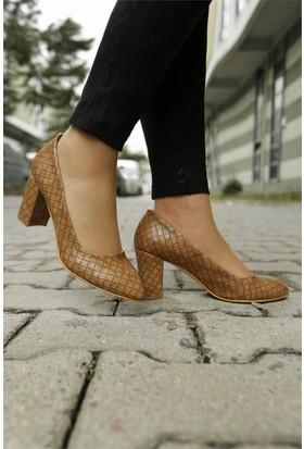 İnce Topuk Kalın Topuklu Ayakkabı Vizon