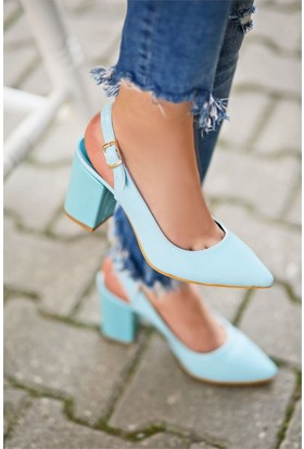 İnce Topuk Topuklu Sandalet Açık Mavi