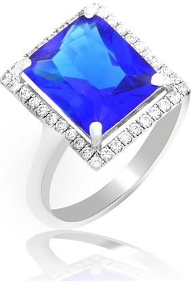 Gümüş Rüyası Gümüş Mavi Baget Taşlı Yüzük 846