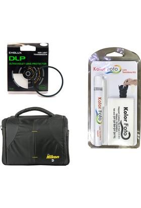 Emolux 55mm UV Filtre + Temizlik Kiti + Nikon Çanta