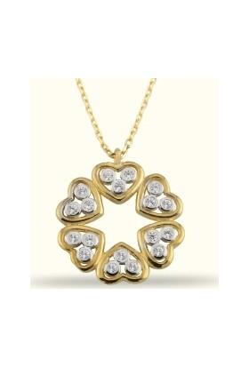 Golden Silver World 14 Ayar Altın Kalpli Yuvarlak Kolye