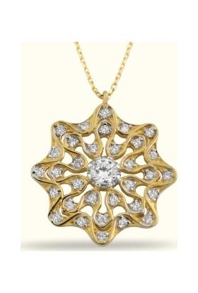 Golden Silver World 14 Ayar Altın Taşlı Kolye