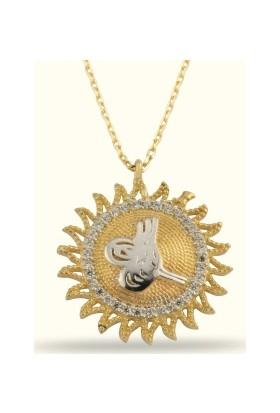 Golden Silver World 14 Ayar Altın GünežŞ Ve Tuğra Desenli Kolye
