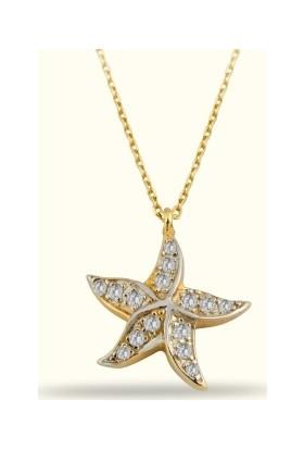 Golden Silver World 14 Ayar Altın Deniz Yıldızı Kolye