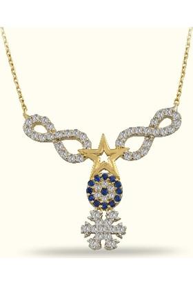 Golden Silver World 14 Ayar Altın Nazar Boncuklu Kar Taneli Sonsuzluk Kolye