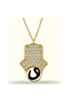 Golden Silver World 14 Ayar Altın Vav Motifli Fatma Eli Kolye