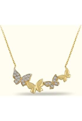 Golden Silver World 14 Ayar Altın Kelebek Desenli Kolye