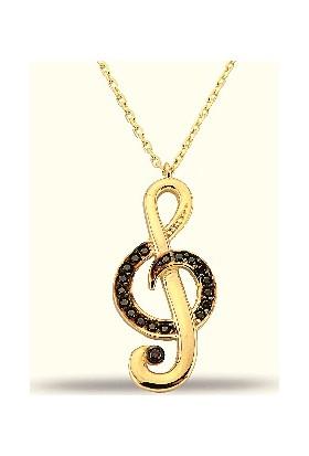 Golden Silver World 14 Ayar Altın Sol Anahtarı Desenli Kolye